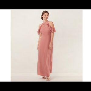 LC Lauren Conrad ruffle cold shoulders maxi dress